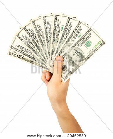 Men's Hand Holds A Fan Of Dollars