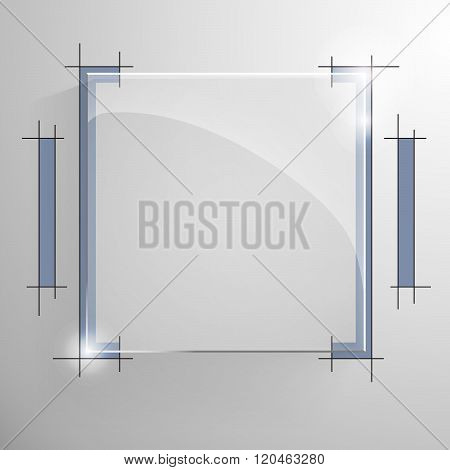 Vector glossy square banner with blue line.