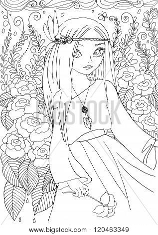 Coloring Book For Adult. Young Girl In Boho Style