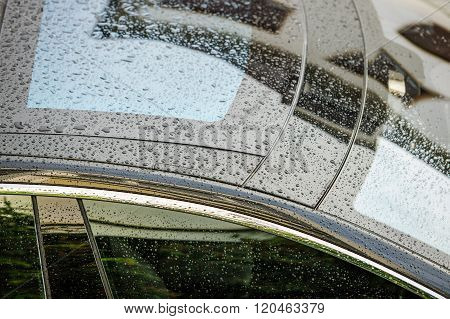 PARIS, FRANCE - CIRCA 2015: Tesla Motors model S sedan electric car top roof glass covered with rain drops as seen from above on June 29 2014 in Paris.
