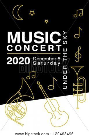 Design elements for music concert advertising. Can be used as poster, postcard, leaflet, web banner and more