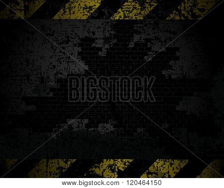 vector grungy background texture of an old brick wall with black and yellow lines at a distance hori