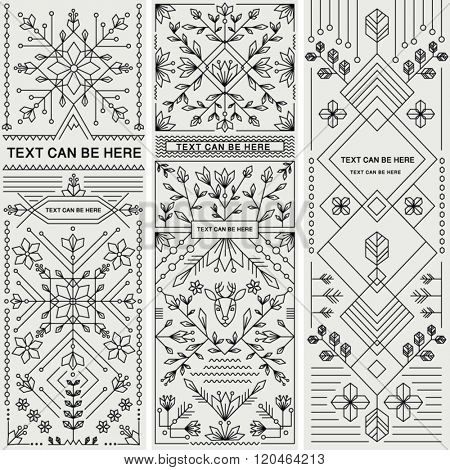 SET OF THREE DECORATIVE DESIGNS. Geometric nature style.Can be used for labels, packages, greeting cards, prints, web design, fashion, leaflet, cosmetics etc. Editable vector illustration file.