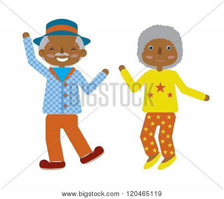 Vector flat cartoonof elderly couple dancing fuuny