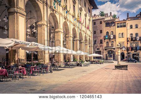 Piazza Grande In Arezzo City, Italy