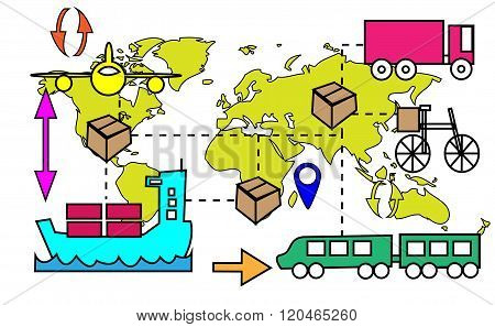 Illustration Of Logistics Transport Movements With World Map