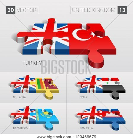 United Kingdom Flag. 3d vector puzzle. Set 13.