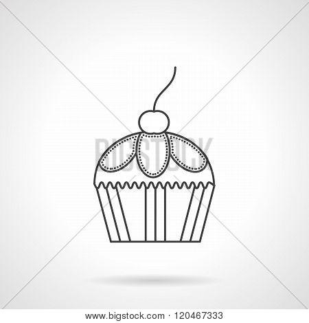 Cupcake dessert flat line design vector icon