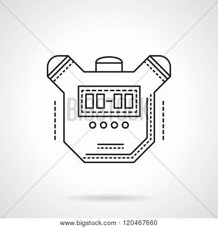 Sport timer flat line design vector icon