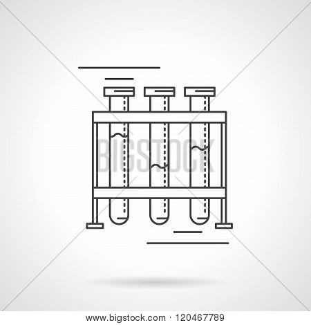 Test-tubes rack flat line design vector icon