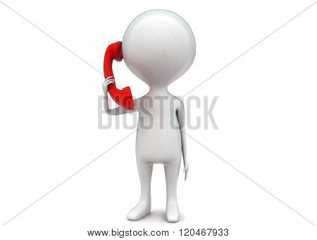 3D Man Holding Telephone Reciever In Hands Concept