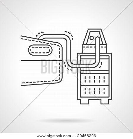 Automobile test flat line design vector icon
