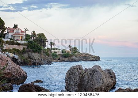 View Of The Sea Shore In French Riviera