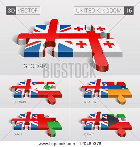 United Kingdom Flag. 3d vector puzzle. Set 16.