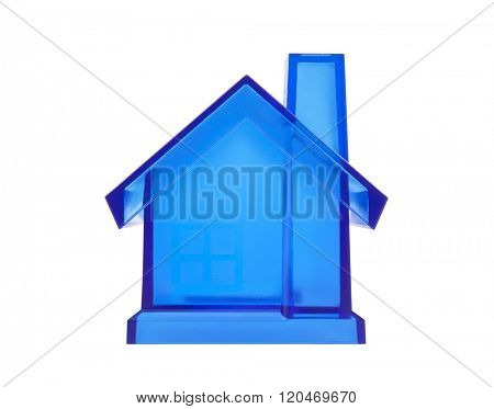Crystal blue house isolated on white with clipping path