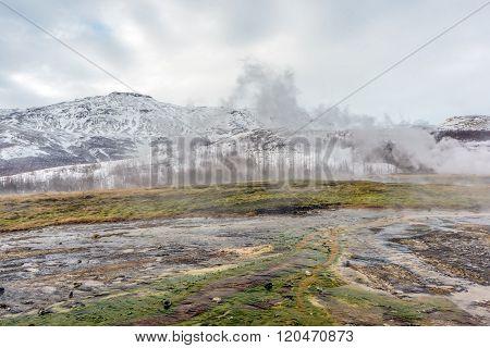 Geothermal Vents Geysir Iceland