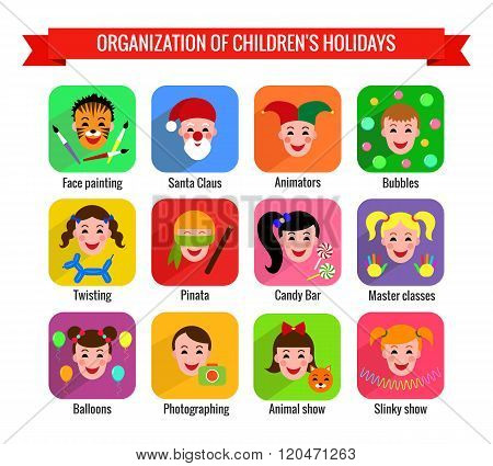 Set of cute colorful icons with children entertainments. Vector illustration.