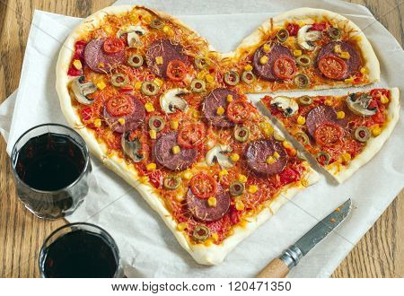 Pizza Heart Shaped With Pepperoni,