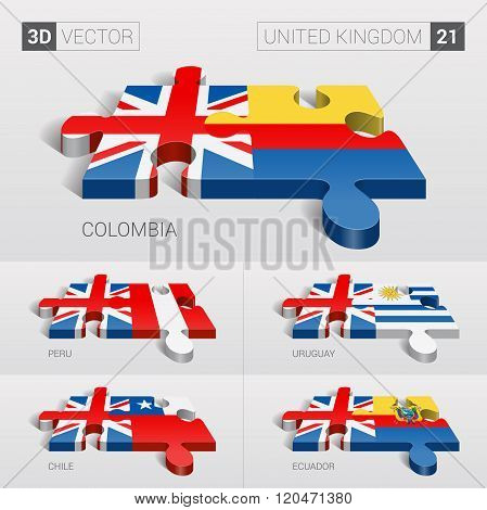 United Kingdom Flag. 3d vector puzzle. Set 21.