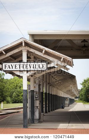 FAYETTEVILLE, NC - JUNE 28, 2015: The historic Fayetteville train station built in 1911 and located on Hay St has only one platform and two tracks, with service provided by Amtrak.