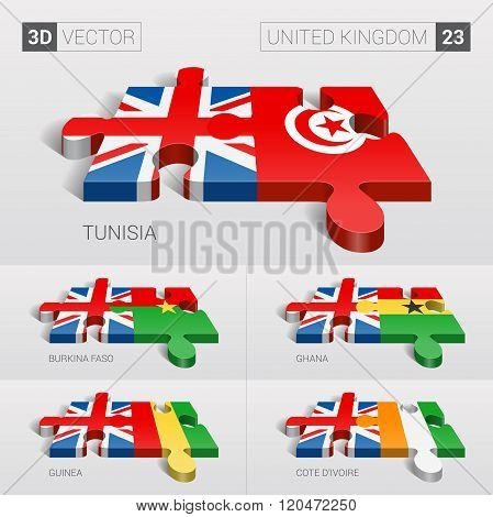 United Kingdom Flag. 3d vector puzzle. Set 23.