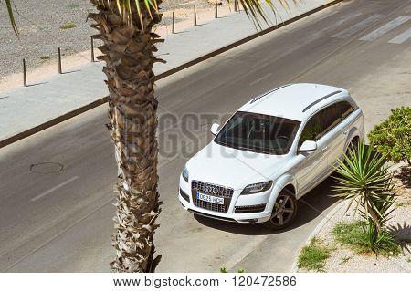 White Audi Q7 Quattro On Sunny Street, Torrevieja, Valencia, Spain