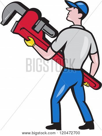 Plumber Carry Monkey Wrench Walking Cartoon