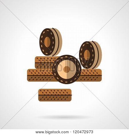 Roller wheels flat color design vector icon