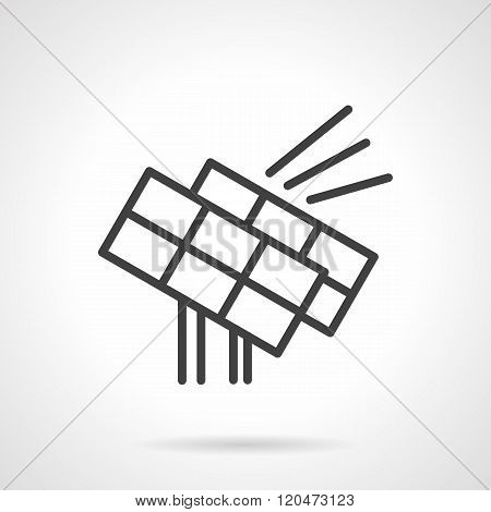 Solar power station black line design vector icon