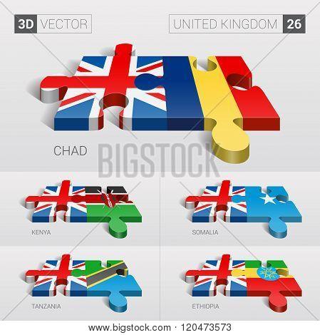 United Kingdom Flag. 3d vector puzzle. Set 26.