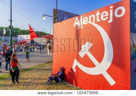 Seixal, Portugal - September 5, 2015: Communist symbol decorating the Alentejo Pavilion. Festa do Avante Festival, the most important Political-Cultural event. Portuguese Communist Party organization.