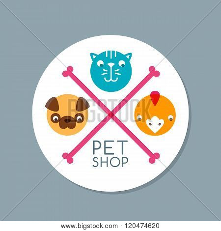 Vector Circle Label With Pets.