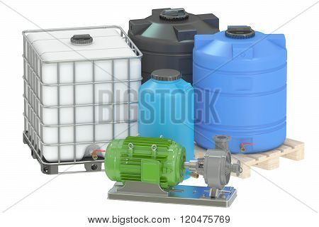Group Of Plastic Water Tanks And Pumping Water