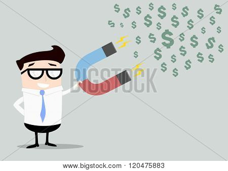 minimalistic illustration of a businessman holding a red and blue horseshoe magnet attracting dollars, eps10 vector