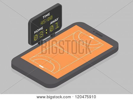 minimalistic illustration of a mobile phone in isometric view with handball field, online watching concept, eps10 vector