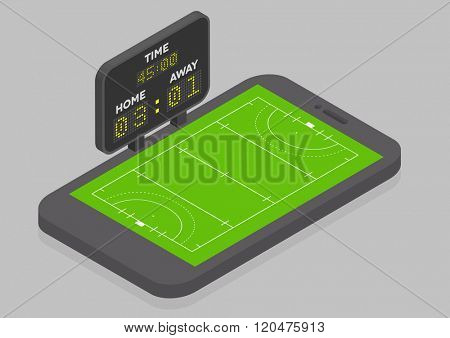 minimalistic illustration of a mobile phone in isometric view with Field Hockey field, online watching concept, eps10 vector