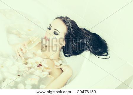 Woman With Wine In Bath