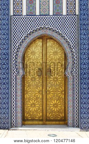 Golded door of Royal Palace in Fes