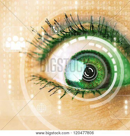 Cyber woman with matrix eye concept