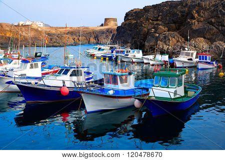 El Cotillo port fisherboats in Fuerteventura at Canary Islands of Spain