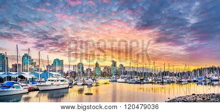 Coal Harbor At Sunset
