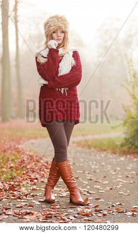 Pretty Fashion Woman In Fur Winter Hat.
