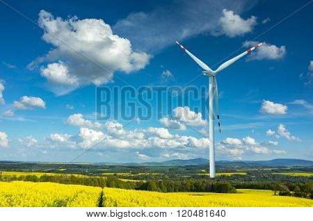 Windmill on the Colza Field
