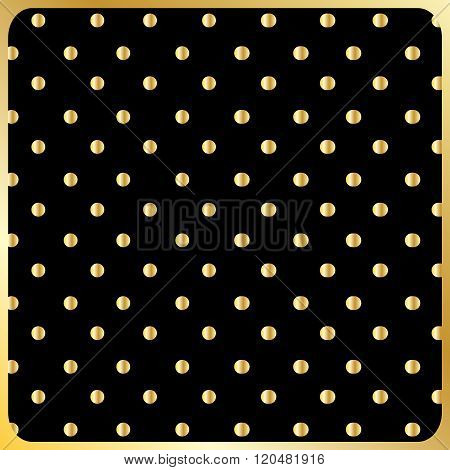Elegant gold polka dot pattern. Gold polka dot on black background in gold frame. Modern design. Digital illustration, Vector file. For print, web, fashion, textile, texture, craft, home decor design.