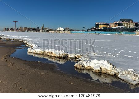 Coney Island Beach With Snow