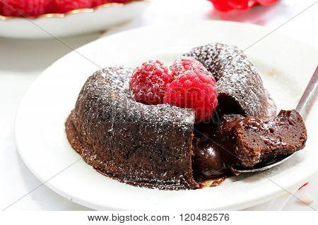 Chocolate Lava Cake Heart Shaped With Raspberry