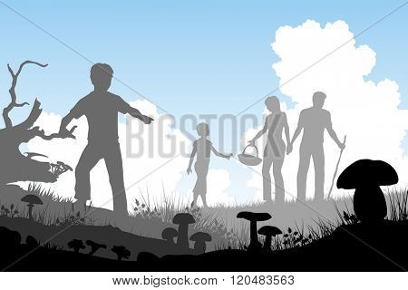 EPS8 editable vector cutout illustration of a family hunting for edible mushrooms with people and fungi as separate objects