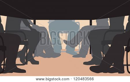 EPS8 editable vector cutout illustration of an office meeting from under the table