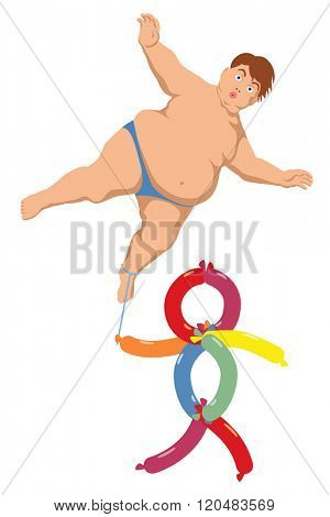 EPS8 editable vector illustration of an obese floating boy carried by a boy made of balloons