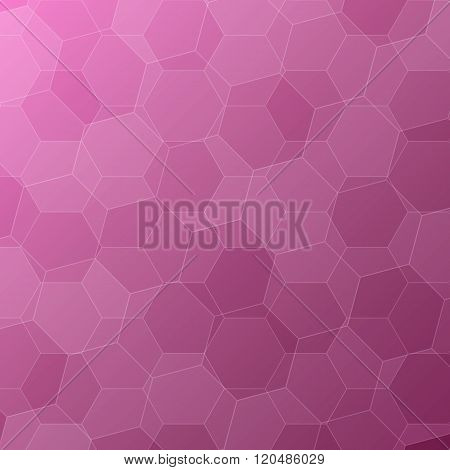 Abstract Pink Background With Hexagons